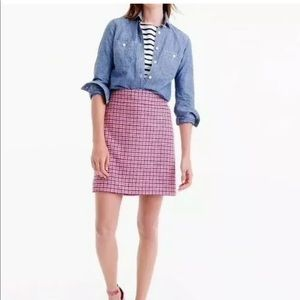 J.Crew Pink Mini Skirt in Houndstooth Wool Sz 10